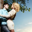 Portrait of love couple embracing outdoor in park — Stock Photo #6362305