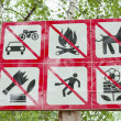 Prohibiting signs in park — Stock Photo #6125015