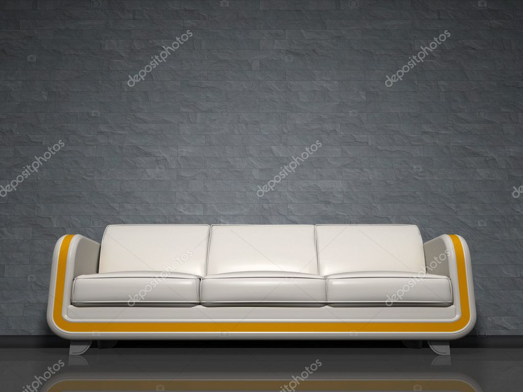 An image of a nice white sofa with yellow line  Stock Photo #5775036