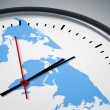 Clock with world map — Stock Photo