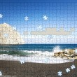 Incomplete puzzle beach — Stock Photo