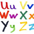Stock Photo: Letters U-Z in ink marker
