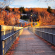 Stock Photo: Wooden bridge at sunset