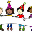 Stock Photo: Party hat kids with banner