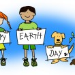 Stock Photo: Kids and dog holding Happy Earth Day signs