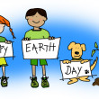 Kids and dog holding Happy Earth Day signs — Stock Photo
