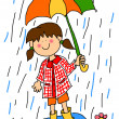 Little girl with umbrella cartoon — Stock Photo