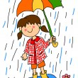 Little girl with umbrella cartoon - Stock Photo