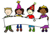 Party hat kids with banner — Stock Photo