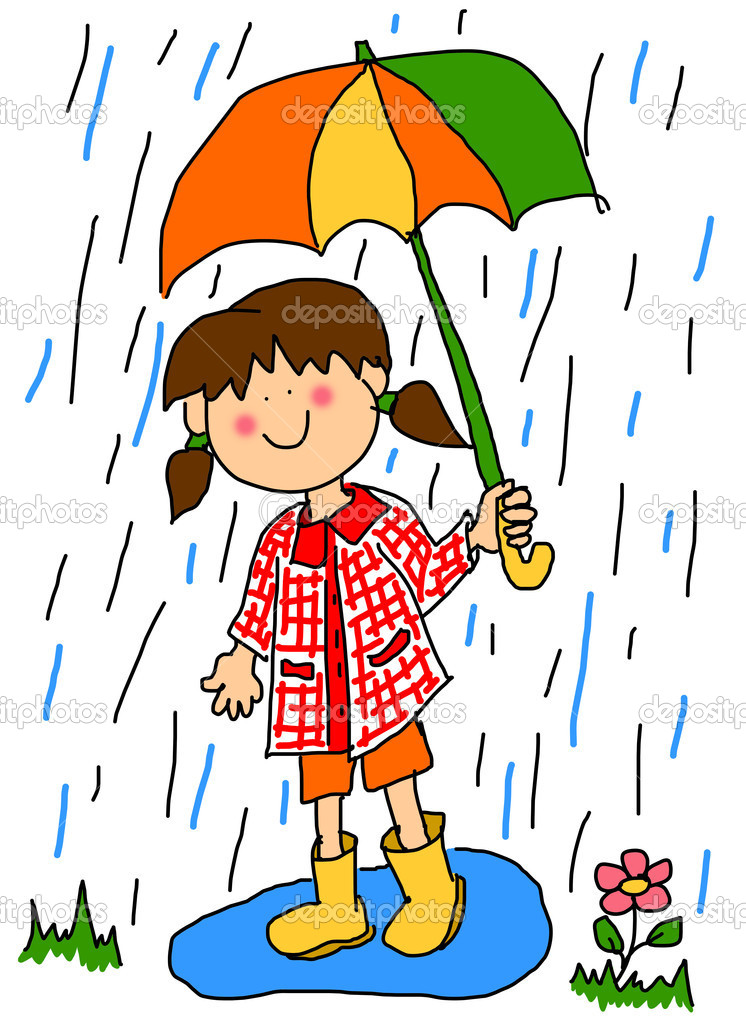 Little girl with umbrella cartoon stock image
