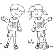 Boy and girl cartoon soccer player — Stock Photo