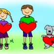 Royalty-Free Stock Photo: Boy, girl, and dog cartoon holding heart shape sign