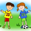 Boy and girl cartoon soccer player - Foto Stock