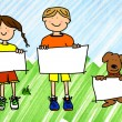 Girl, boy and dog with signs on ink marker sky and grass — Stock Photo #5808884