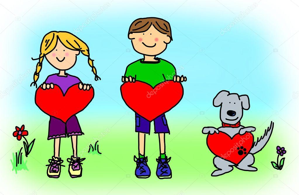 chlapče dívka a pes kreslený drží srdce tvar znamení — Stock ...: cz.depositphotos.com/5808873/stock-photo-boy-girl-and-dog-cartoon.html