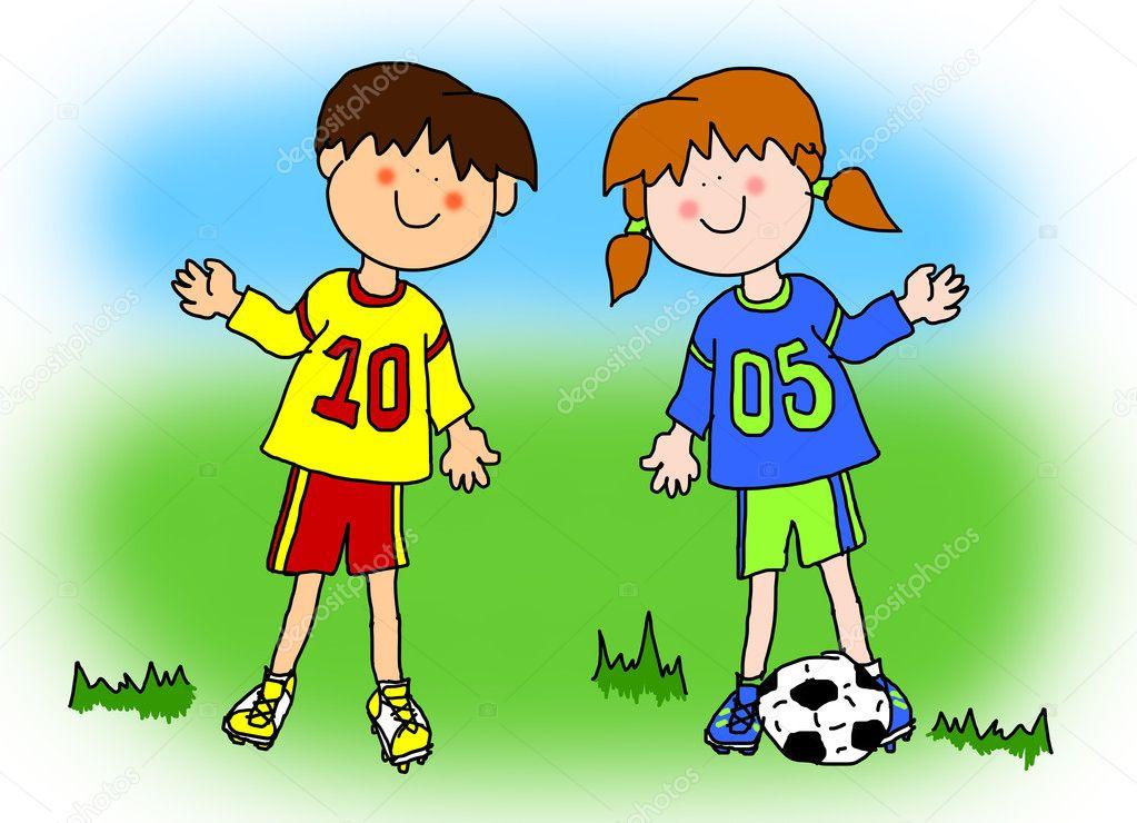 Joueur de football de dessin anim gar on et fille photo - Dessin fille et garcon ...