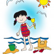 Cartoon little girl playing at the beach — Stock Photo #5851348