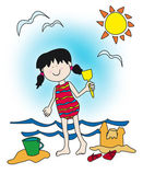 Cartoon little girl playing at the beach — Stock Photo