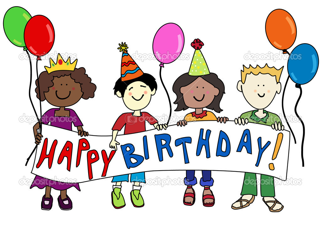 happy multicultural cartoon kids holding a happy birthday banner