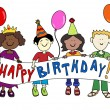 Multicultural kids with Birthday banner — Stock Vector