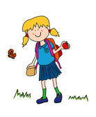 Little girl going back to school — Stock Vector