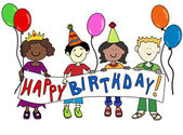 Multicultural kids with Birthday banner — Vecteur