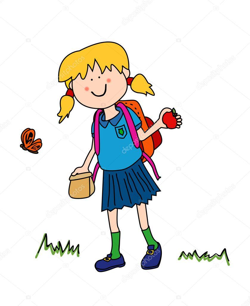 Little girl going back to school - Stock Illustration