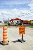 Detour digging the street — Stock Photo