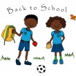 Stock Vector: Couple of black kids going to school