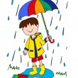 Постер, плакат: Little boy with umbrella