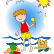 Stock Vector: Little boy at the beach
