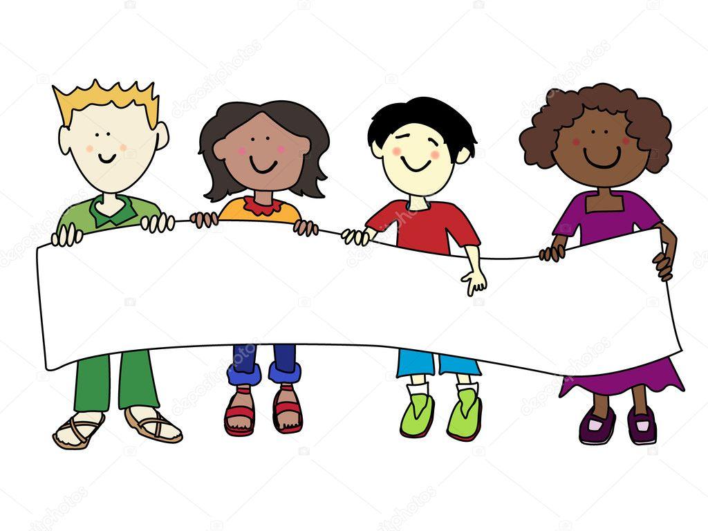 Ethnic diversity kids and banner stock illustration
