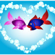 Stock Vector: Fish love
