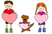 Cartoon kids and dog holding heart shapes — Stock Vector