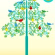 Stock Vector: Birds on flourishes tree