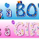 Boy girl announcement — Stock Vector