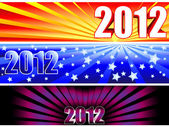 2012 sunburst banners — Stock Vector
