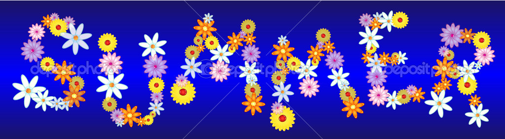 Fun colorful letters made of glossy flowers, some transparents, writing the word SUMMER in capital letters.  — Stock Vector #6129030