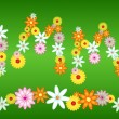 Royalty-Free Stock Vector Image: Glossy flower SUMMER letters on green