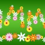Glossy flower SUMMER letters on green — Stock Vector