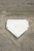 Baseball homeplate and gravel vertical — Stock Photo