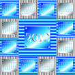 2012 silver and blue corrugated metal calendar - Image vectorielle