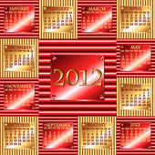 2012 red and gold corrugated metal calendar — Stock Vector