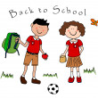Couple of kids going back to school - Stock Vector