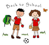 Couple of kids going back to school — Stock Vector