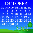 October 2012 landscape calendar — Stock Vector
