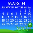 March 2012 landscape calendar — Stock Vector
