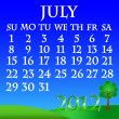 July 2012 landscape calendar — Stock Vector