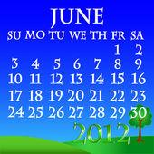June 2012 landscape calendar — Stock Vector