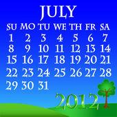 July 2012 landscape calendar — Stock Vector